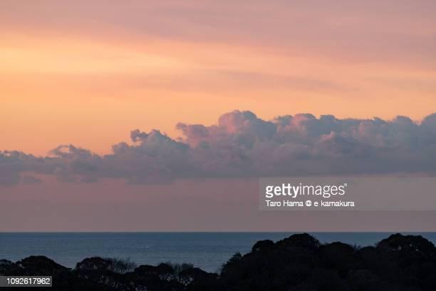 Morning orange sky on Sagami Bay, Northern Pacific Ocean in Japan
