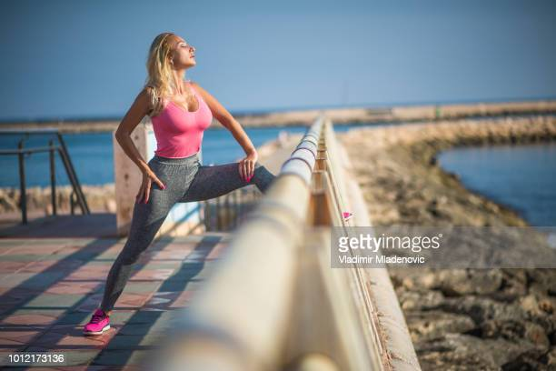 morning outdoor workout - denia stock pictures, royalty-free photos & images