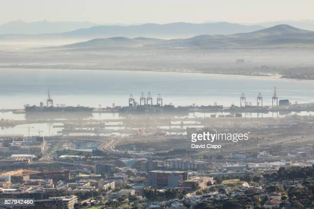 Morning over the Port of Cape Town in South Africa