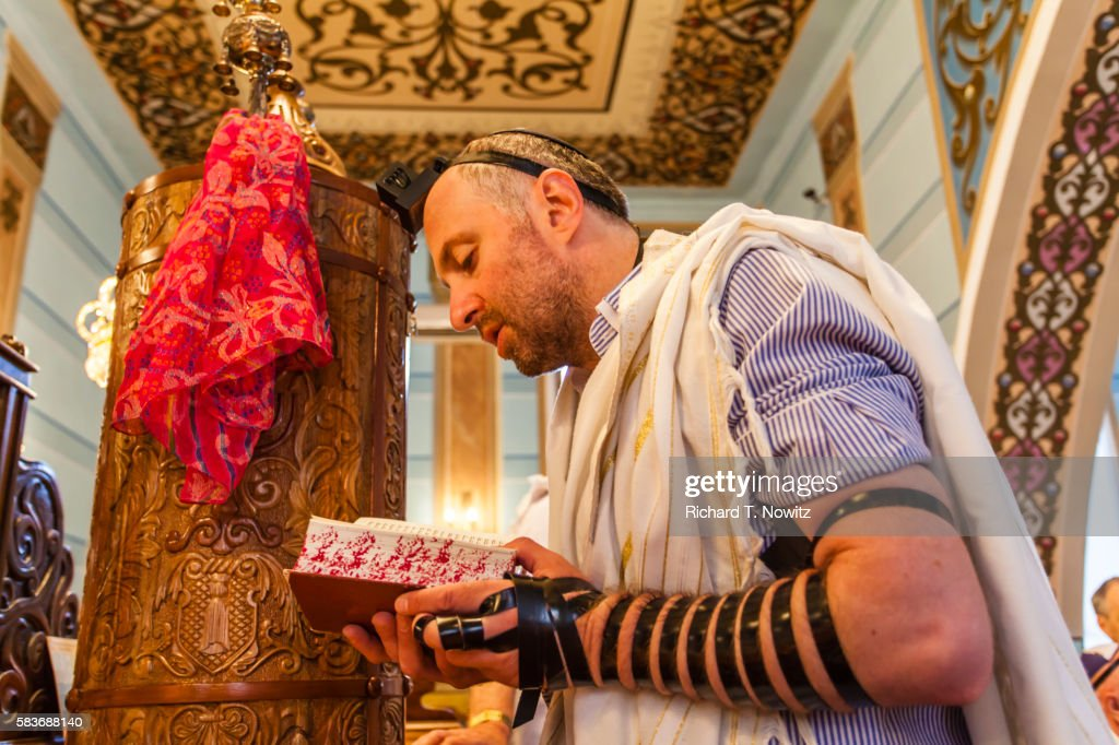 Morning prayer in the Great Synagogue of Tbilisi : Stock Photo