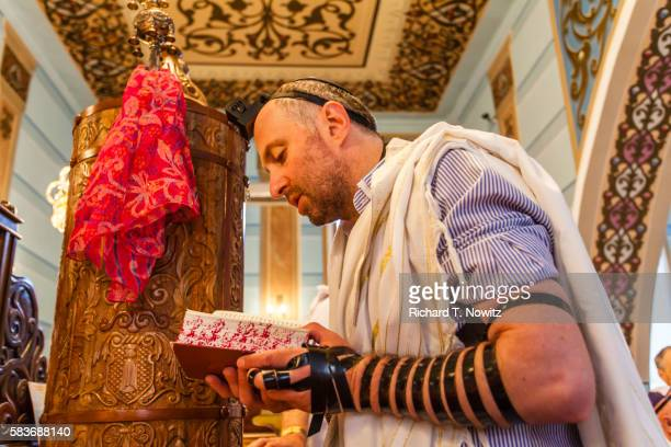 morning prayer in the great synagogue of tbilisi - jewish prayer shawl ストックフォトと画像