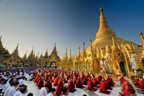 Morning Prayer Service at the Shwedagon, Yangon.
