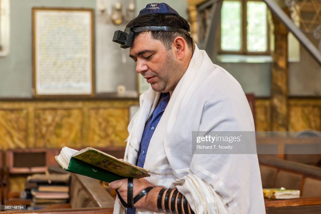 Morning prayers in Kutaisi synagogue. : Stock Photo