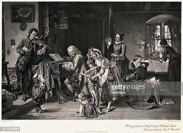 Morning prayers in the family of Johann Sebastian Bach From a painting by Toby E Rosenthal