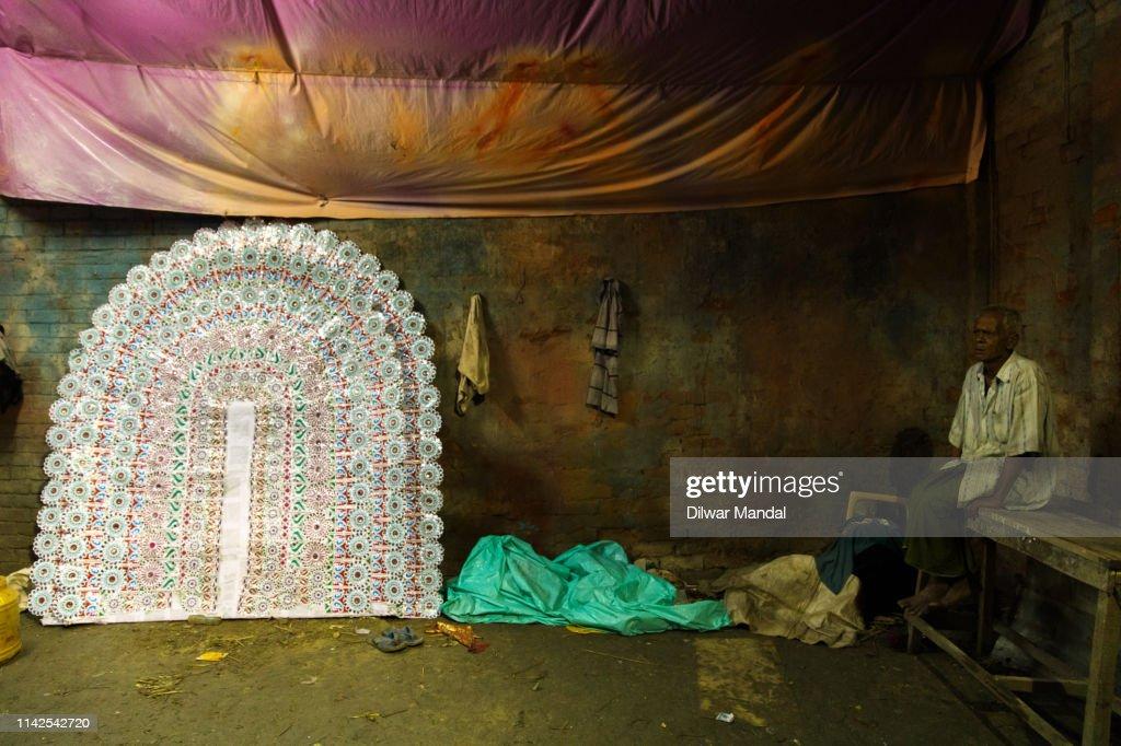 Morning Puja at Kolkata : Stock Photo