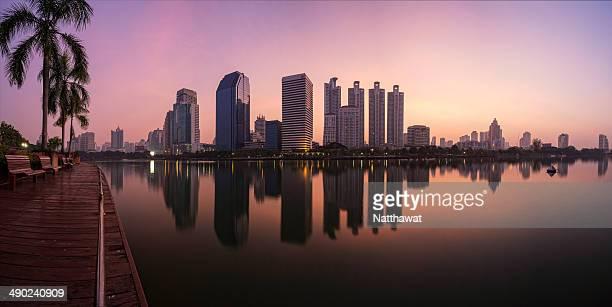 Morning Reflection City Bangkok