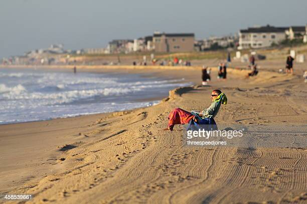 morning rest at bethany beach - bethany beach stock photos and pictures