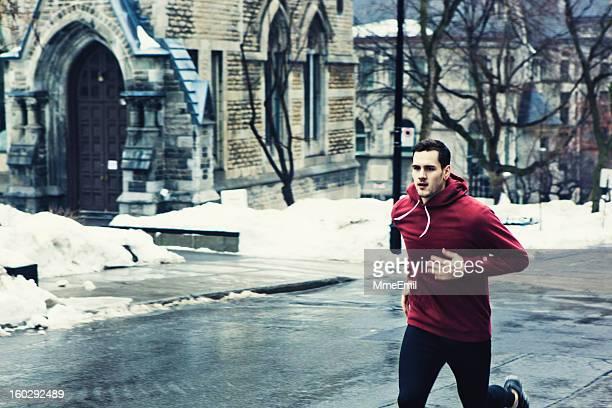 Morning run after a snow storm has fallen