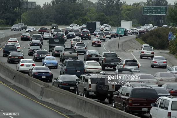 Morning rush hour traffic jams the eastbound lanes of the 101 freeway through Encino on Monday 5/9/2005