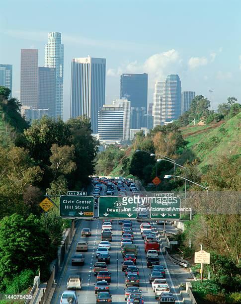Morning rush hour traffic on Pasadena Freeway into downtown Los Angeles, California