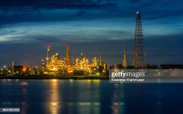 Morning scene of an oil refinery locating beside Chao Phraya river in Bangkok, Thailand.