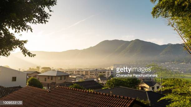 Morning scene of rooftop view over Yufuin town, Japan
