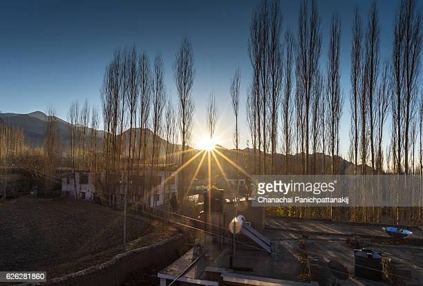 Morning scene of sunrise over Leh city, Ladakh, India