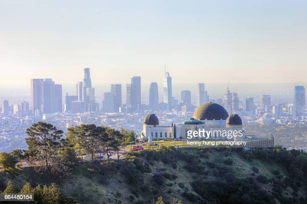 Morning scenery of Griffith Observatory and dowtown LA