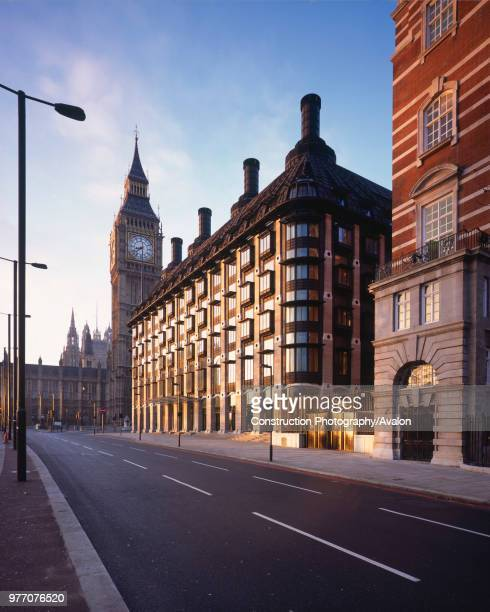 Morning Shot of Portcullis House opposite Westminster's Houses of Parliament and Big Ben London The new building with offices for 210 Members of...