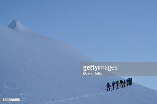 Morning skiers
