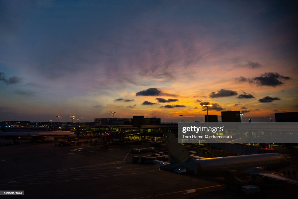 Morning sky on Changi Airport in Singapore : ストックフォト