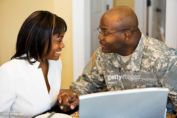 morning smiles - military spouse stock pictures, royalty-free photos & images
