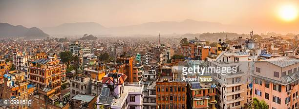 morning sun above the kathmandu, nepal - nepal stock pictures, royalty-free photos & images