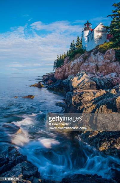morning sun at bass harbor lighthouse - maine stock pictures, royalty-free photos & images