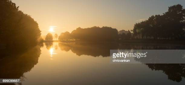 Morning sun over river landscape, Enschede, Twente, Holland