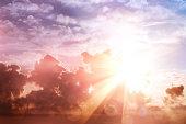 Morning sun ray and bokeh sky