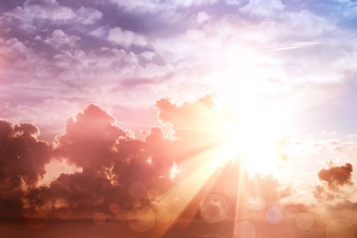 Morning sun ray and bokeh sky 855291090