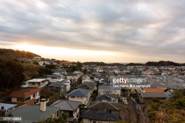 Morning sunbeam and residential district by the sea in Kamakura city in Japan in the morning