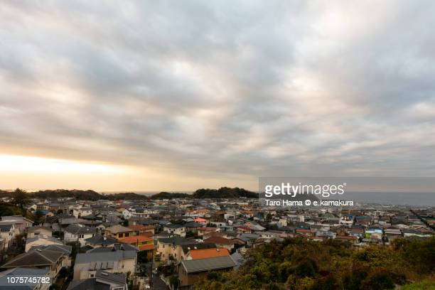 Morning sunbeam and Shichirigahama Higashi residential area by the sea in Kamakura city in Japan in the morning