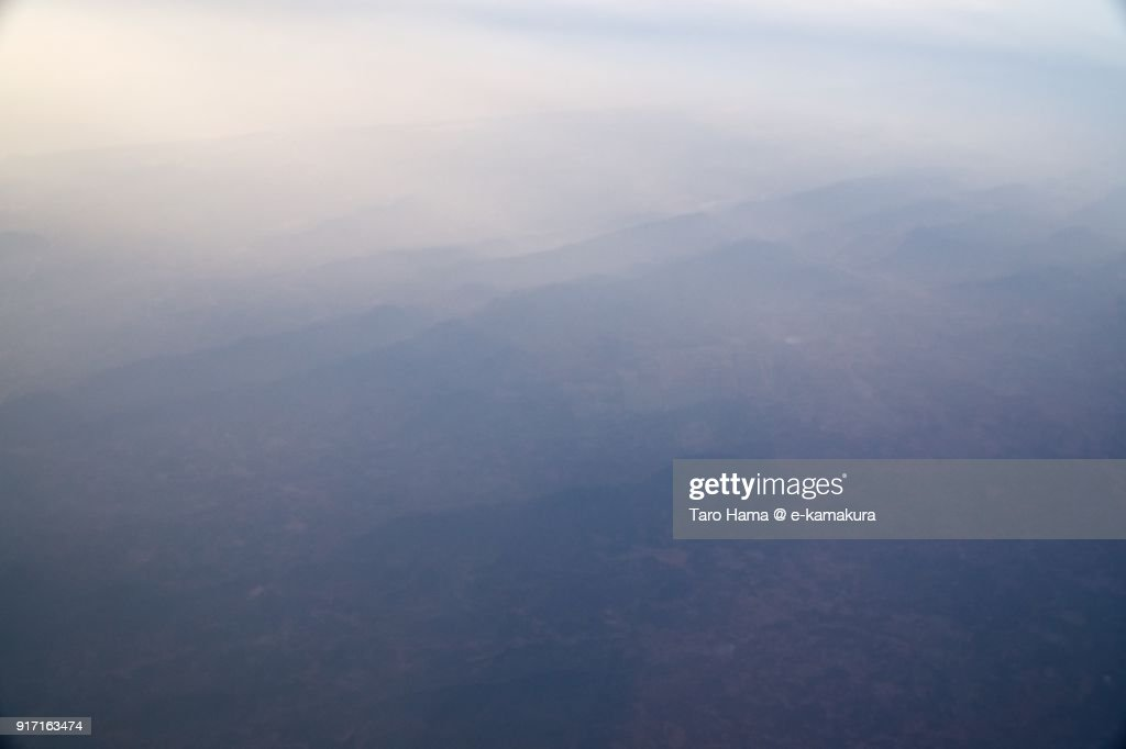 Morning sunbeam on Bay of Bengal and mountains in Andhra Pradesh in India aerial view from airplane : ストックフォト