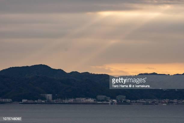 Morning sunbeam on Kamakura and Yokosuka cities and Hayama town and Sagami Bay in Japan