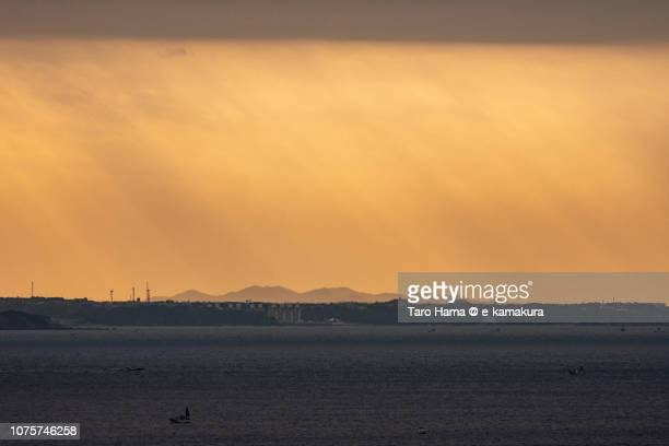 Morning sunbeam on Kamakura and Yokosuka cities and Sagami Bay in Kanagawa prefecture in Japan