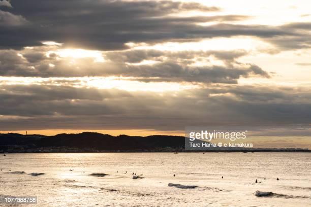 Morning sunbeam on Sagami Bay, Pacific Ocean in Japan