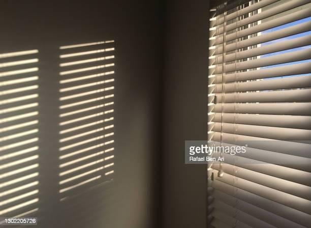 morning sunlight coming through venetian blinds - rafael ben ari fotografías e imágenes de stock