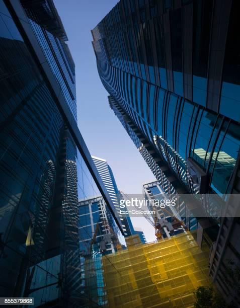 Morning sunlight hitting construction site in Hong Kong