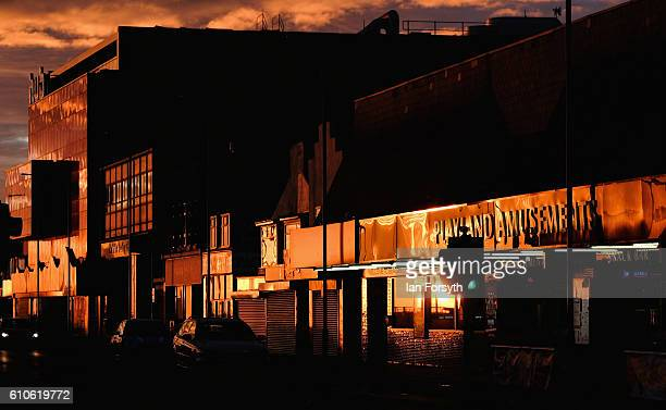 Morning sunlight reflects from shopfronts and buildings along Redcar seafront on September 27 2016 in Redcar United Kingdom One year on since the SSI...