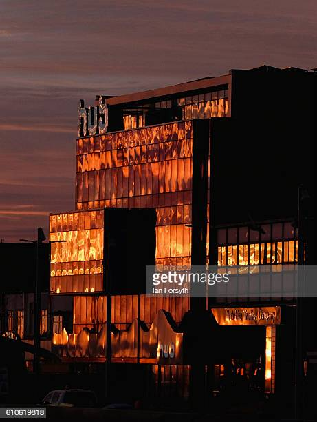 Morning sunlight reflects off buildings on Redcar seafront on September 27 2016 in Redcar United Kingdom One year on since the SSI steel making plant...