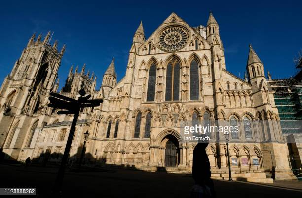 Morning sunlight shines down on York Minster on February 11, 2019 in York, England. After recent cold weather warmer air is expected to raise...