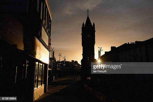 Morning sunlight shines through Redcar high street on September 27 2016 in Redcar United Kingdom One year on since the SSI steel making plant at...