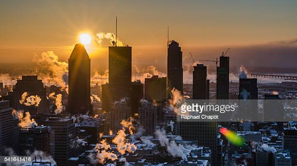 Morning sunrise over Montreal during winter