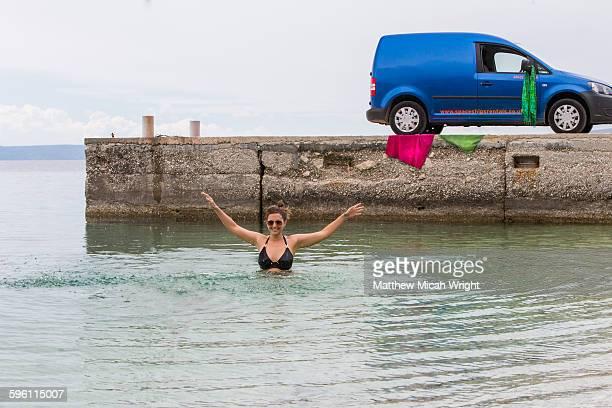 A morning swim in Croatia's blue waters
