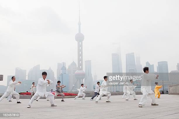 morning Tai Chi on the Bund,Shanghai
