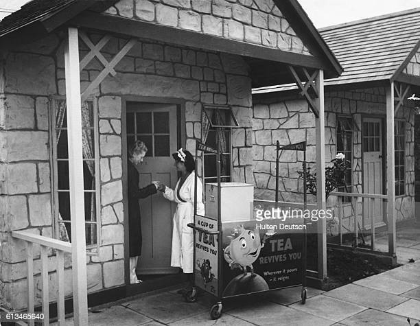 Morning tea is delivered to a chalet at a Butlin's Holiday Camp It costs an extra bob for 7 early morning tea tickets