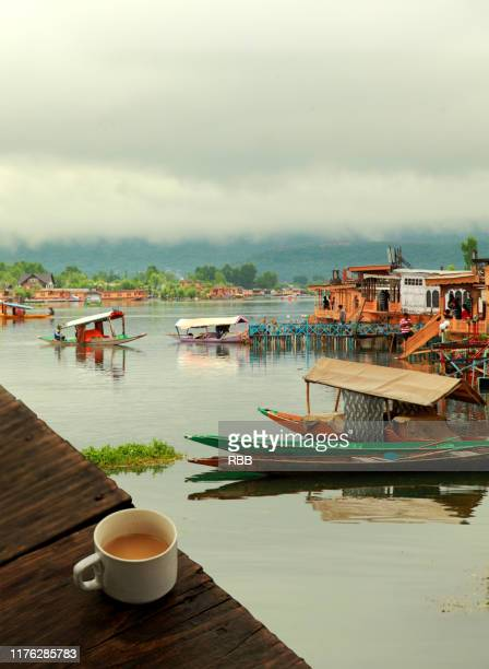 morning tea over dal lake - srinagar stock pictures, royalty-free photos & images
