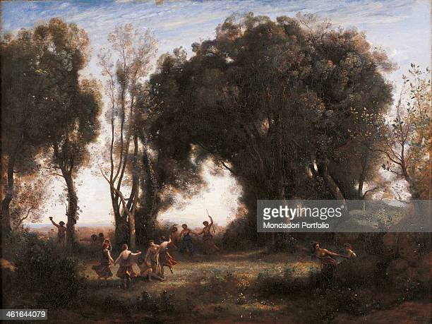 A morning The Dance of the Nymphs by JeanBaptisteCamille Corot 19th Century oil on canvas France Paris Musée d'Orsay Whole artwork view Landscape...