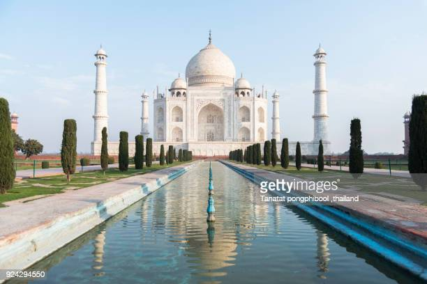 morning time at taj mahal, agra, india - taj mahal stock photos and pictures