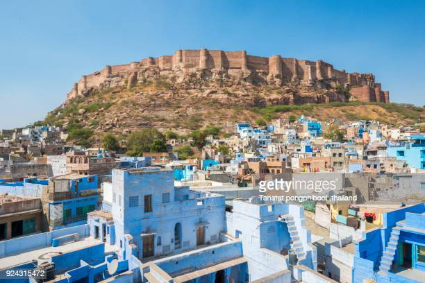 morning time of blue city and mehrangarh fort, jodhpur, india - jodhpur stock pictures, royalty-free photos & images