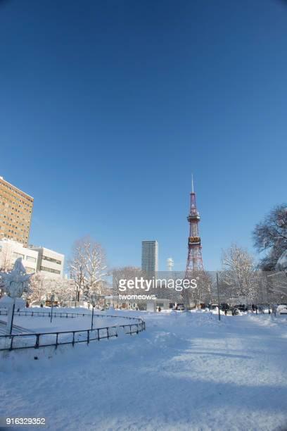 Morning time of Sapporo city centre, Odori Park, Hokkaido in december.