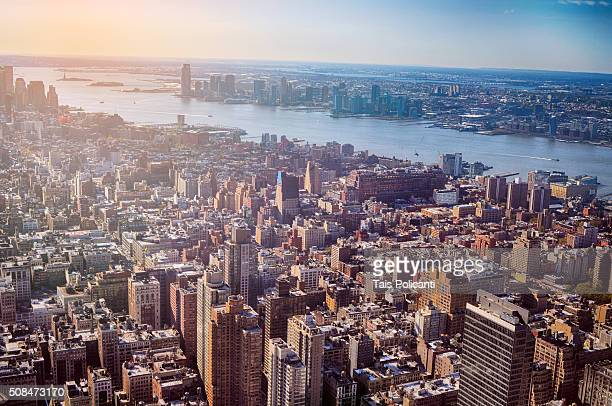 Morning top view of New York City