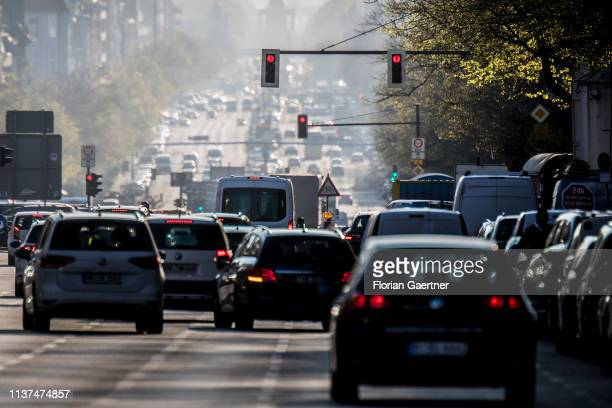 Morning traffic is pictured at the street Bismarckstrasse on April 16 2019 in Berlin Germany